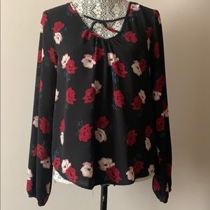 Charlotte Russe black floral long sleeve top Sz s